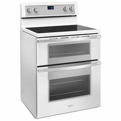 whirlpool 67cuft electric double oven range with true convection cooking in black ice or white
