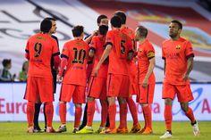 Players of FC Barcelona argue with referee Inaki Vicandi Garrido during the La Liga match between Celta Vigo and FC Barcelona at Estadio Balaidos on April 5, 2015 in Vigo, Spain.
