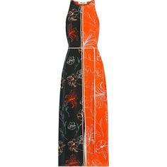 Diane von Furstenberg Open-back printed silk crepe de chine midi dress ($505) ❤ liked on Polyvore featuring dresses, orange, flower print dress, colorblock dresses, silk wrap dress, floral print midi dress and midi wrap dress