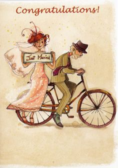 "Carte de voeux ""Just married!"" imprimée par Anne Soline Sintes. Art Magique, Art Carte, Bicycle Art, Just Married, Book Illustration, Wedding Couples, Art Drawings, Drawing Art, Illusions"