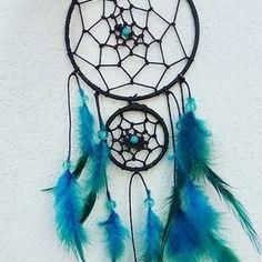 Attrape rêve / dreamcatcher  marron et bleu