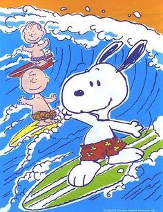 surfer Snoopy and pals, having summer fun.