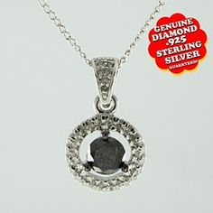 0.72 Ct Round Cut Black & White Genuine Natural Diamond 14K Gold Over Circle Pendant Necklace # Free Stud Earrings by JewelryHub on Opensky