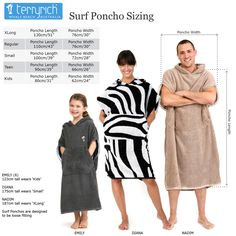The family that surfs together, sticks together! Cotton towelling surf ponchos.
