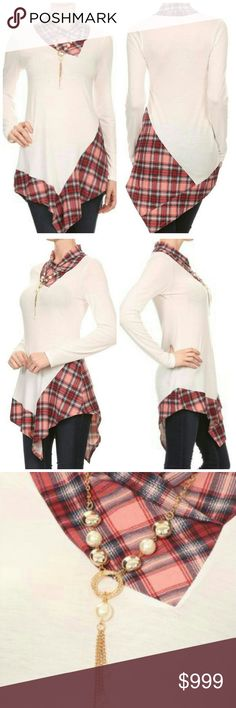 Like to be notified when in! Plaid, long body long sleeve top in a relaxed style with a crew neck and an asymmetric hem. Love! Made in USA. 87% polyester, 10% rayon, and 3% spandex. Sizes S, M, L and XL. Price FIRM on boutique items unless bundled. Unity Blend Tops