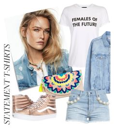 """""""Say It Loud: Slogan T-Shirts"""" by laurabosch on Polyvore featuring Post-It, Topshop, MANGO, Merona, Forte Couture, Vans and slogantshirts"""