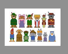 Robin Hood Pixel personas carácter Cruz sólo PDF del patrón de la puntada