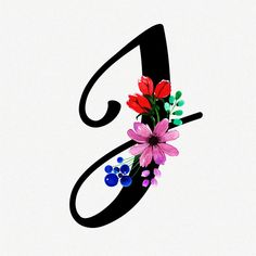 Letra j fundo floral aquarela Vetor Prem. Letter J Tattoo, Monogram Tattoo, Floral Letters, Monogram Letters, G Calligraphy, Alphabet Wallpaper, Coloring Book Art, Wallpaper Iphone Cute, Pretty Wallpapers