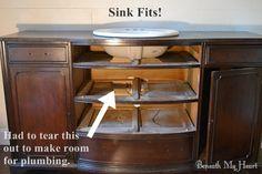 how to convert dresser into sink vanity