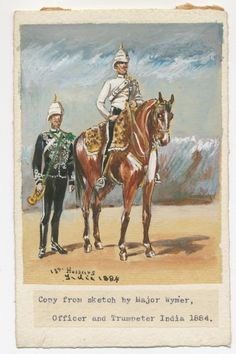 British; 13th Hussars, Trumpeter & Office, India, 1884 by G.H.Brennan