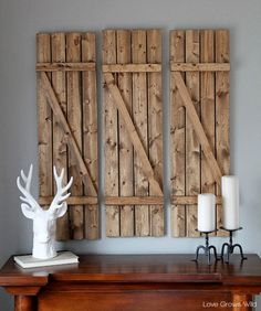Give your home that rustic feeling you've been longing for with a mix of #Minwax Wood Finish in Classic Gray and Dark Walnut to complete these decorative shutters. #$20&Under #WallArt #DIY