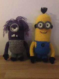Virkade minioner, dumma mej Crochet Motif, Crochet Toys, Dinosaur Stuffed Animal, Beanie, Hats, Animals, Animales, Hat, Animaux