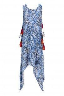 White, Black and Blue Tye and Dye Print Asymmetric Dress #priyaagarwal #ethnic #shopnow #perniaspopupshop #happyshopping