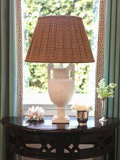 pleated fabric lampshade + greek key curtain trim