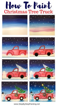 Learn how to paint a cute red vintage Christmas tree truck! This free tutorial includes detailed instructions, a free traceable and video. Learn at home and paint with the whole family. paintings How To Paint A Christmas Tree Truck Christmas Tree Painting, Christmas Canvas, Christmas Projects, Winter Christmas, Christmas Truck, Christmas Drawing, Family Christmas, Christmas Time, Christmas Ideas