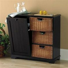 Southern Enterprises Kitchen Island With Cutting Board And Trash Bin Black  Finish