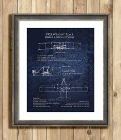 1903 Wright Flyer Blueprint bi-plane art print - multiple sizes on Etsy, $25.00