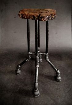 Custom furniture and sculpture from reclaimed wood, fallen trees. | {Cross Plunge Bar Stool}