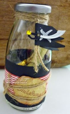 Einladung in der Flasche Piraten, Invitation in a milk bottle Pirates