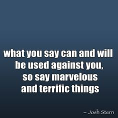 what you say can and will be used against you, so say marvelous and terrific things