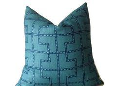 Schumacher Bleecker Pillow Cover,Peacock Decorative Throw Pillow Invisible Zipper Closure, Toss Pillow, Accent Pillow