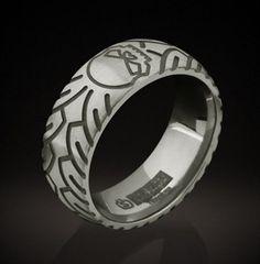 Harley-Davidson® Men's Titanium Ring - Etched Skull - TR16