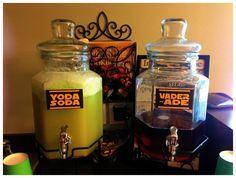 Star Wars Yoda Soda & Vader-Ade.  Yoda Soda- 1 can pineapple juice, 2 liter 7-up, 1 pint lime sherbet.  Vader-ade- used Juicy Juice Fruit Punch