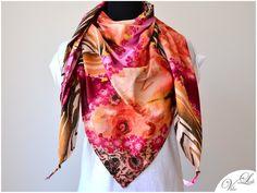 XXL Dreieckstuch Tuch mit Blumen Zebra Muster pink von VibeLich auf DaWanda.com