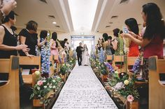 Charles and Sarah's Church Wedding with a Calligraphed Aisle Runner