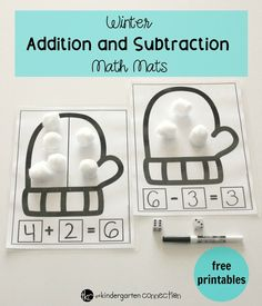 These free printable winter math mats are great for practicing addition and subtraction in a math center for Kindergarten or 1st grade! #teachersfollowteachers #kindergarten #mathcenters #iteachtoo Addition And Subtraction, Math Centers, Grade 1, Math Lessons, Kindergarten, Preschool, Kindergartens, Preschools, Kindergarten Center Organization