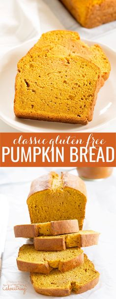 Classic gluten free pumpkin bread, made simply with just the right spices. A moist, tender celebration of fall!