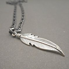 Mens Feather Necklace - Mens Necklace - Feather Pendant - Mens Jewelry - Silver Feather Jewelry - Native American - Gift for Him Gold Choker Necklace, Coin Necklace, Necklace Sizes, Necklace Lengths, Feather Jewelry, Feather Necklaces, Gem Necklaces, Mens Silver Jewelry, Bracelets For Men