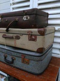 Oude Brocante Vintage Koffer Beige - Middelste Koffer