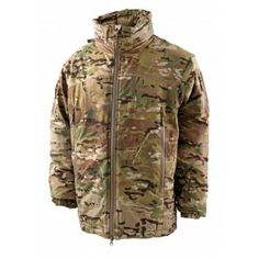 """Carinthia HIG 2.0 Jacket, camo WARM & WINDPROOF HIG stands for """"High Insulation Garment"""", and the name says it all. This multifunctional jacket is 100% windproof, as well as waterproof and very warm. (Comfort temperature down to -20°C) This comfortable jacket is made of GORE-TEX™ Windstopper® and filled with our warm G-LOFT® which is moisture-resistant . It has an integrated hood that easily folds into the collar for storage. TL, AOS Team Carinthia, Multifunctional, Fly Fishing, Military Jacket, Camo, Insulation, Jackets, Loft, Outdoors"""