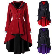 Details about Gothic Vintage Womens Steampunk Victorian Swallow Tail Trench Coat Jacket Long Style: Gothic. Our Size(cm) Fit US Size(cm) Bust(cm) Waist(cm) Length(cm) Shoulder Width(cm) Sleeve Length(cm). Gothic Fashion, Victorian Fashion, Retro Fashion, Victorian Lace, Victorian Women, Men's Fashion, Rock Fashion, Vintage Gothic, Lolita Fashion