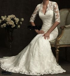 Lace Sweetheart Neckline Mermaid Wedding Dress with Long Sleeves