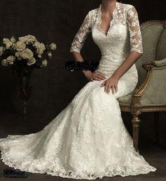 New Princess Royalty Inspird Vintage Lace Long Sleeve Mermaid Wedding Dress 2 18   eBay