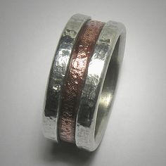 Rustic wedding band for men - custom handmade mixed metalwork men's engagement ring - copper and silver ecofriendly ring on Etsy, $220.00