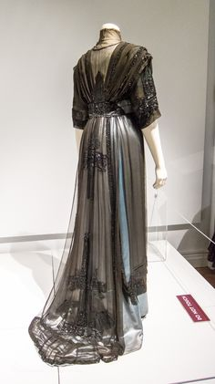 Evening Dress - silk satin, silk chiffon, marquisette net, trimmed w celluloid sequins and gladd bugle beads.  Made by T & S Bacon, Bold Street, Liverpool, c. 1910-12  Lady Lever Gallery, Port Sunlight, UK
