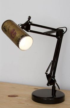 Recycled spray cans into desk lamps