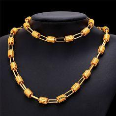U7 Oval Fashion Necklace Bracelet Jewelry Sets For Women 2 Colors