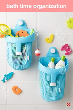 You'll be surprised, but bath time quickly moves from baby bath in the sink to full-on tub time. And, that calls for lots and lots of fun toys. The OXO Tot Bath Toy Storage Bin easily suctions to the shower wall and perfectly holds all Baby's toys while allowing them to drain quickly and dry completely.