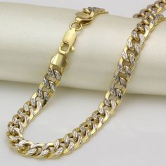"Pure 18K Solid Yellow Gold Men's Curb Link Chain/Stamp ""AU750"" #Chain"