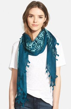 Hinge 'Fade Away' Square Tassel Scarf available at #Nordstrom