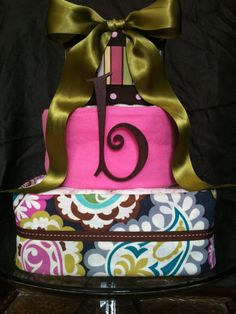 Diaper Cake Paisley and Pink Baby Girl by ClassicCityBabycakes, $55.00