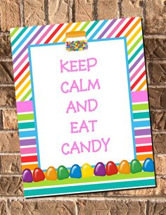 Instant Download Keep Calm And Eat Candy Sweet Shoppe by Design13