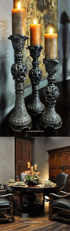 Old World Candle Holders for the Tuscan Dining Room.. Find them at Accents of Salado.