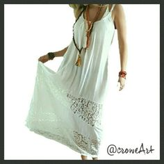 """HP  Romantic White Boho Lace Maxi Dress Simply beautiful white, lightweight Maxi dress, 2 wide layers of lace around skirt, adjustable straps, pleated neckline, minimalist style, simple hems. Tag says Size XL, closer to Size L. Measurements : Bust 40"""" flat lay.  Waist 46"""" flat lay.  No stretch. Material is Rayon and lace. NWOT.   Last photo is actual dress. Boutique  Dresses Maxi"""