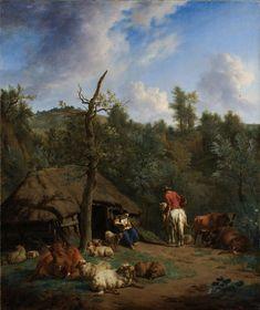 Adriaen van de Velde | The Hut, Adriaen van de Velde, 1671 | De hut. Italiaans heuvelachtig landschap met een jonge vrouw die voor de ingang van een herdershut zit tussen koeien en schapen, rechts een man op een wit paard.