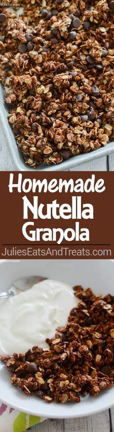 Nutella Granola Recipe ~ Easy Homemade Granola Recipe That Anyone Can Make! Oats and Chopped Hazelnuts Coated in Nutella and Loaded with Chocolate Chips! Prefect for Breakfast or a Healthy Snack! ~ https://www.julieseatsandtreats.com